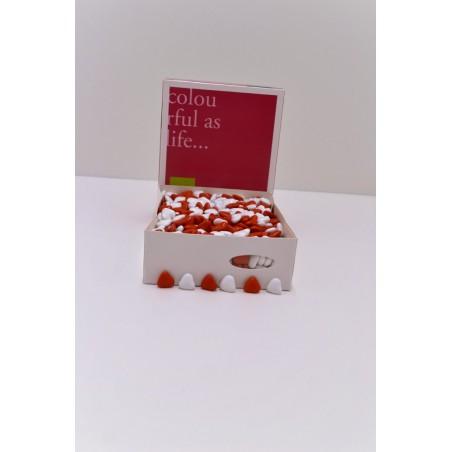 Dragées cœur chocolat blanc et rouge 1KG