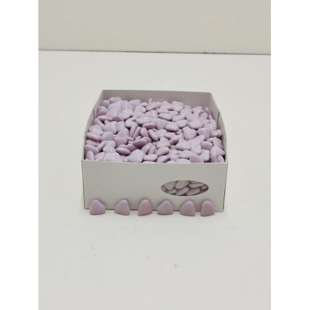 Dragées mini cœur lilas chocolat 1 KG