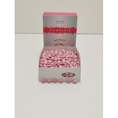 Dragées mini cœur rose chocolat 1KG