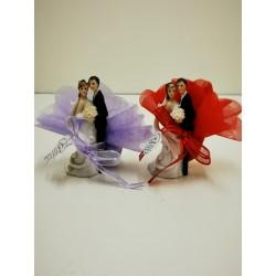 petit couple avec bouquet
