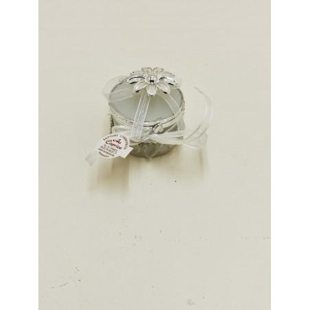 Boite ronde avec fleur métal
