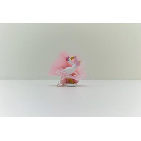 Cigogne rose avec bébé
