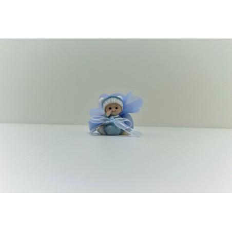 Bébé bleu avec pompon